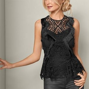 VENUS Geometric Lace Fringe Top NWT Black